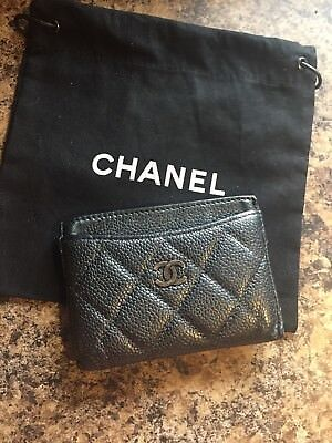 Auth CHANEL Card Case Matelasse Quilted CC Caviar Black/Gray Metallic