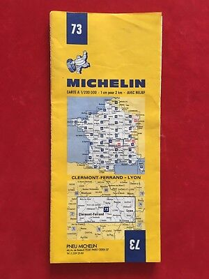 CARTE de FRANCE MICHELIN N° 73 de 1983 1984 CLERMONT FERRAND 63 LYON 69