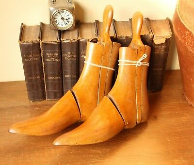 Beautiful Vintage Pair of Wooden 3 Part Boot Lasts. Wood Treen Trees. Shoe Shop