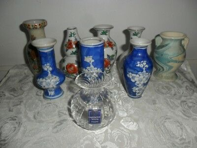 Lot of 9 Vintage Miniature Vases - All Porcelain or Ceramic and one is Crystal