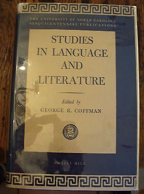Studies in LANGUAGE and LITERATURE Coffman 1945 First FREE US SHIPPING Philology