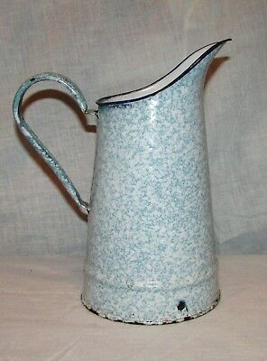 Broc Pichet Bleu Emaille Ancien / Vintage French  Enamel Pitcher