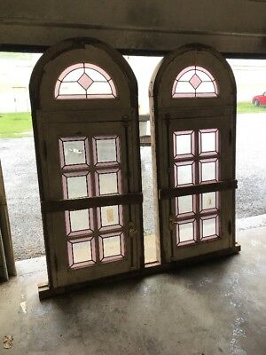 MAR two available price separate antique Stainglass arch top windows working 30…