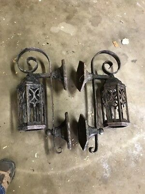 Match Pair antique exterior cast iron wall sconce 25 x 10.5