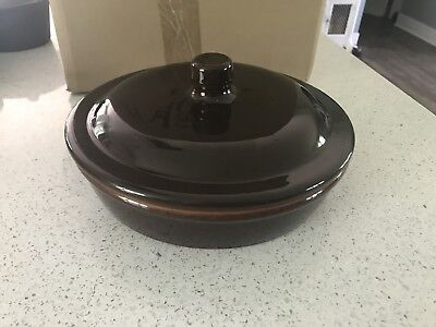 Bobby Flay Bf Plancha Brown Green Pottery Casserole Dish W/lid Portugal