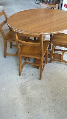 Vintage Brandt Ranch Oak Table And Chairs