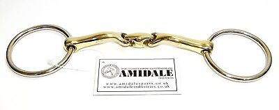 Loose Ring Snaffle Tongue Saver Curved Angled Mouthpiece Horse Bit Amidale Bnwt