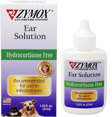ZYMOX HYDROCORTISONE FREE Pet King Ear Solution  Medication Treatment 1.25oz
