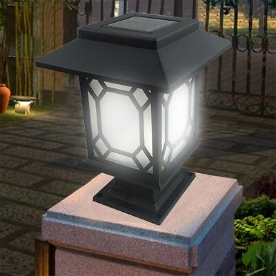 Solar Powered Vintage LED Light Outdoor Garden PathWay Landscape Fence Yard Lamp