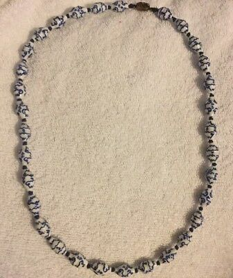 Vintage Blue & White Chinese Porcelain Beads Necklace Silver Clasp
