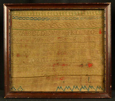 Antique American Folk Art Hand Made Embroidered Old Silk Sampler Dated 1780 Asis