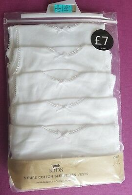 New Ex M&S Girls 5 Pack Vest Cotton White Age 2-6 Years