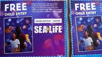 2 X Free CHILD entry to Sea life centres and sanctuaries UK