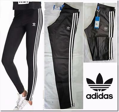Women Ladies Adidas Originals 3 Stripes Leggings Size 8 10 12 14 Black Stretchy