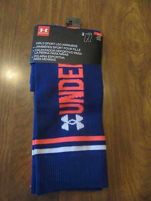 (2) Pairs Under Armour Girls Youth One Size Leg Warmers Blue Gray Ships Free NWT