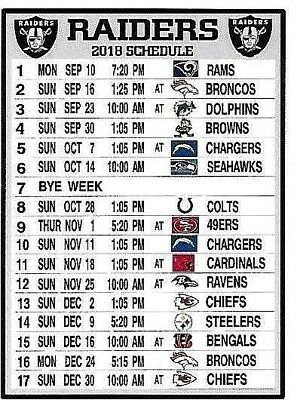 NEW, THE OAKLAND Raiders 2018 Nfl Schedule Fridge Magnet ...