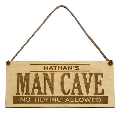 Personalised Man Cave Hanging Door Sign Wall Plaque Wooden Engraved Friend Gift