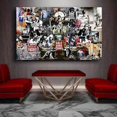 Banksy Grafitti Collage Rare Street Artist  Pick a Size Canvas or Decal Print