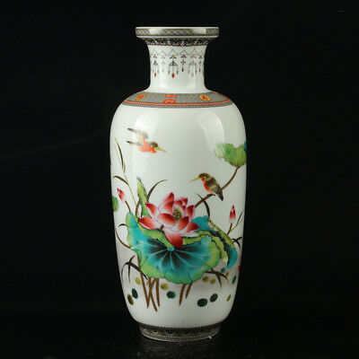 Chinese Porcelain Hand-Painted Lotus & Bird Vase Mark As The Qianlong Period
