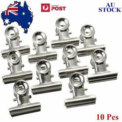 NEW 10pcs Stainless Steel Bulldog Clip Money Letter Paper File Tidy