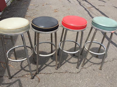 Vintage Mid Century Vinyl And Chrome Bar Stools (4). Local Pickup Only!