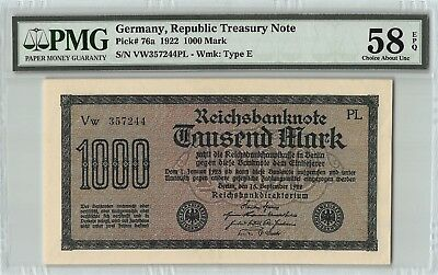 Germany, Reichsbanknote 1922 P-76a PMG Choice About UNC 58 EPQ 1000 Mark