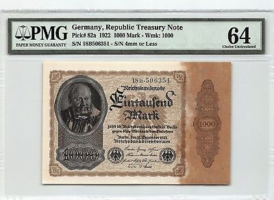 Germany, Reichsbanknote 1922 P-82a PMG Choice UNC 64 1000 Mark