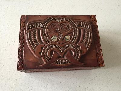 Antique Maori Carved Wooden Box - Tribal
