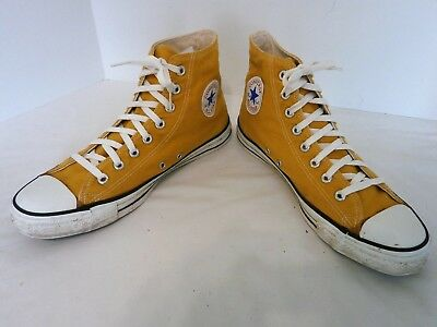 Vintage Converse All Star Chuck Taylor Yellow Sneakers Men's Size 11 Made in USA