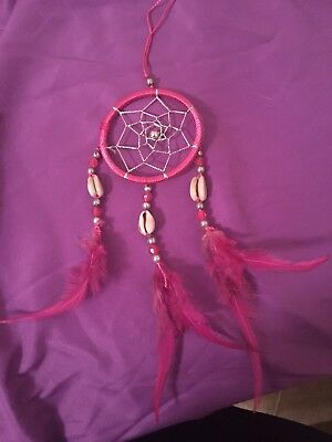 Dream Catcher With Pink Feather Wall Car Hanging Decoration Ornament Decor Gifts