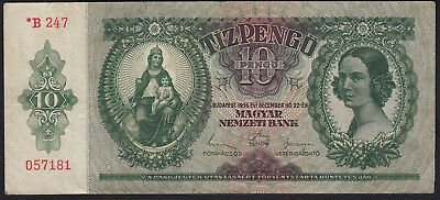 1936 Hungary 10 Pengo Vintage Paper Money Banknote Rare Antique Currency Old