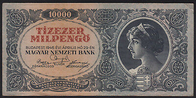 1946 Hungary 10000 Milpengo Vintage Paper Money Banknote Rare Antique Old Bill