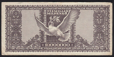 1946 Hungary 10 Million Milpengo Vintage Paper Money Banknote Rare Antique Old