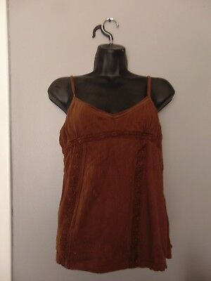 """Women's Size 15/17 Cami """"No Boundaries"""" Brand Dark Brown with Lace Stretch"""