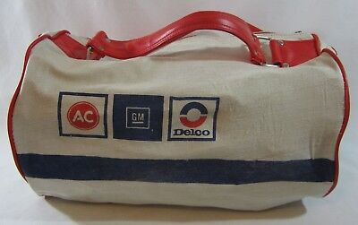 Vintage AC Delco GM Advertising Gym Bag Canvas Travel Overnight Duffle
