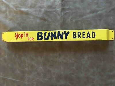 Vintage Hop in for Bunny Bread Advertising Grocery Store Door Push Bar Sign