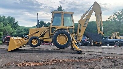 Ford 555 Tlb Backhoe Loader Full Cab Rubber Tire Tractor Bob Cat
