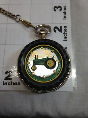 John Deere Packet Watch with Raised Tractor on Cover with Chain.