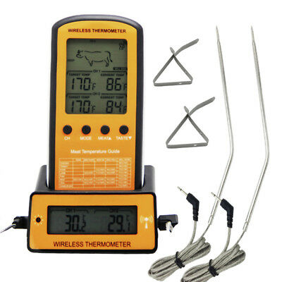 AU Digital Wireless Remote Dual 2 Probe Cooking Food Meat Oven BBQ Thermometer