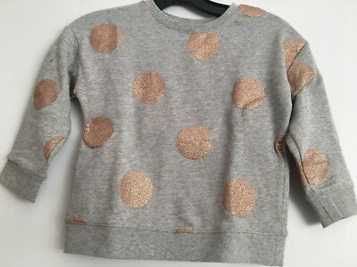 Excellent Condition! Cotton On Kids Girls Grey Marle/gold Dot Sweater - Size 6
