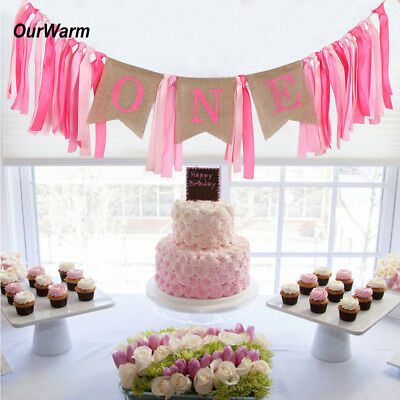 First 1st Birthday Party Decoration Boy Girl Baby Highchair Banner Bunting Decor