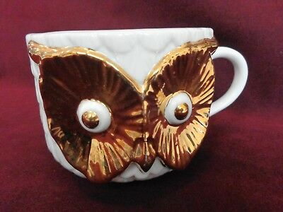Vintage 18Kt Gold Decorated Owl Coffee Cup or Mug