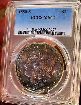 Morgan  Silver Dollar 1880 S PCGS MS 64++++ Monster Rainbow WOW COIN PQ COLORS
