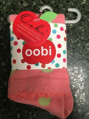 NEW IN PACKAGING! OOBI KNEE HIGH GIRLS COTTON SOCKS PINK/GREEN SPOT 3 to 6 YEARS