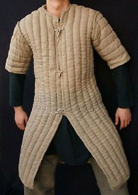 Viking Thick-camel-color-Gambeson-Medieval-Padded movie-Armor-half-sleeve