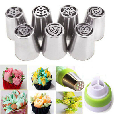 7Pcs Flower Pastry Cake Icing Piping Nozzles Decorating Tip Sets Baking Tool Kit