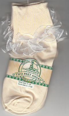 Girls Lace Socks, Cream W/White Shear Lace, Size 6-7 1/2, By Two Feet Ahead, New