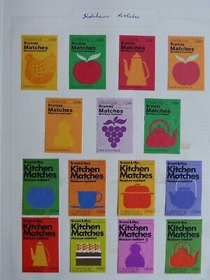 15 x Brymay/Bryant & May Kitchen Matches Matchbox Labels