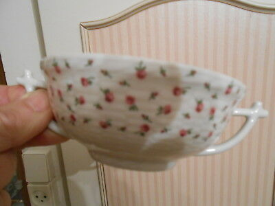Ch. Field Haviland Limoges Bol A Bouillon 2 Poignees Decor Floral