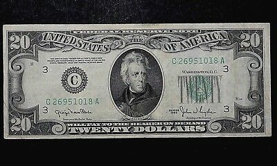 Philadelphia $20 Federal Reserve Note 1950 UNITED STATES C 26951018 A (710)